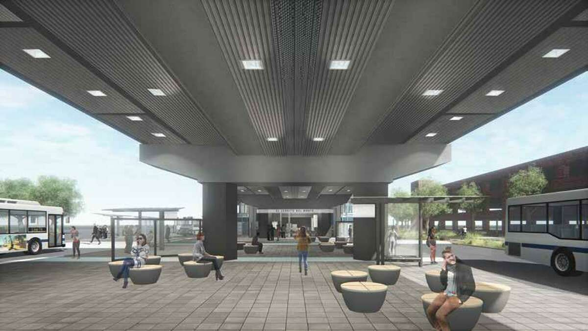 El Cerrito del Norte-concept art LED fixtures outside the station with seating areas and new bus shelters.