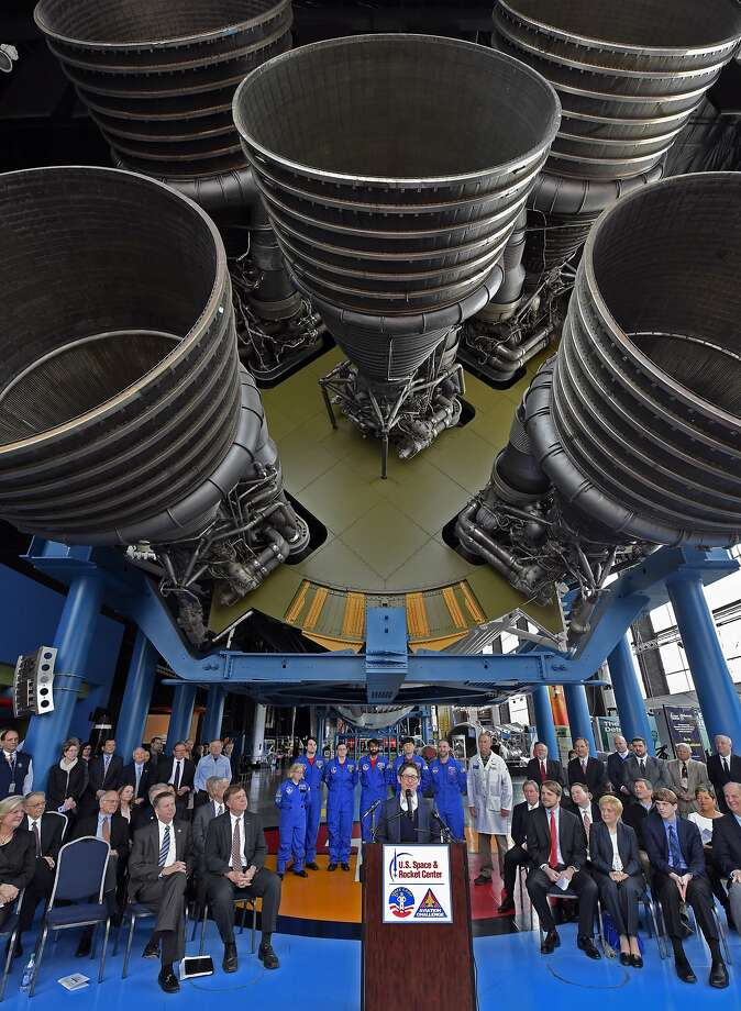 Jill Szuchmacher, director of Google Fiber Expansion, speaks at news conference under a Saturn V rocket at the Davidson Center at the U.S. Space & Rocket Center on Monday, Feb. 22, 2016, announcing that Huntsville Utilities and Google will build a fiber network to bring high speed TV and Internet service to the city's residents and businesses. (Bob Gathany/AL.com via AP) Photo: Bob Gathany, Associated Press