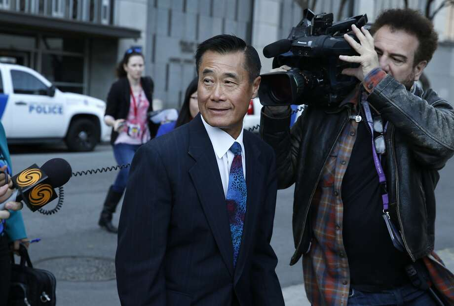 Leland Yee leaves the courthouse after receiving a five-year prison sentence and a $20,000 fine in a federal bribery and corruption case in San Francisco on Feb. 24, 2016. Photo: Paul Chinn, The Chronicle