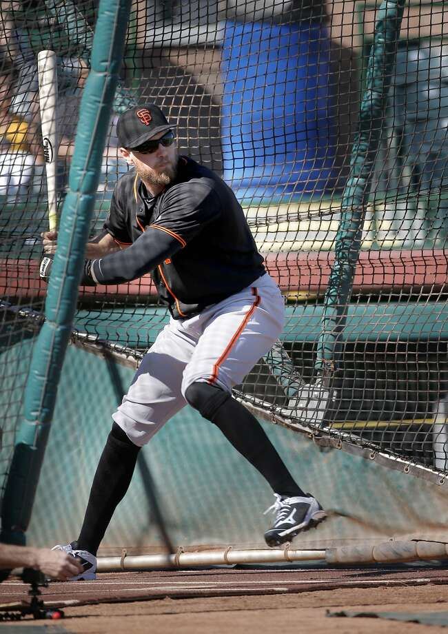 Hunter Pence, 8 hits from the batting cage during the San Francisco Giants spring training workouts at Scottsdale Stadium on Wed. February  24, 2016, in Scottsdale, Arizona Photo: Michael Macor, The Chronicle
