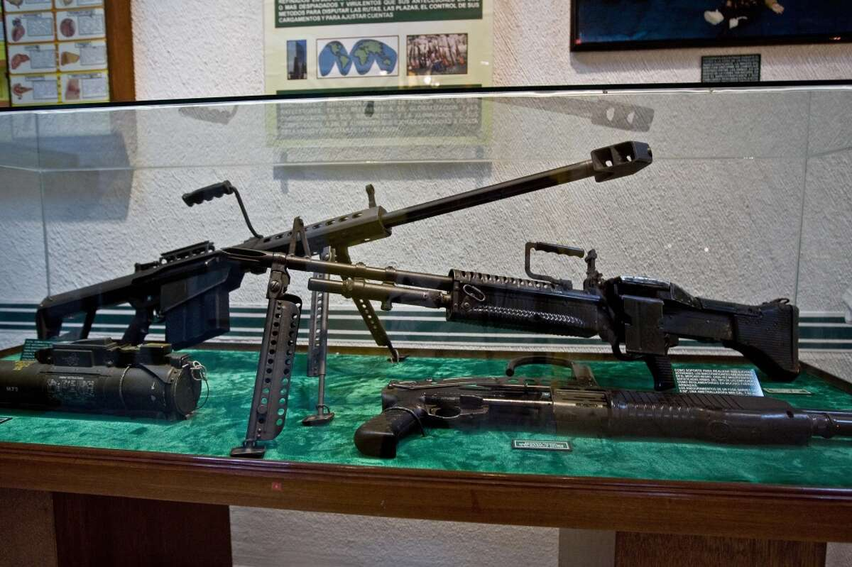 Assault rifles are on display at the Museum of Drugs of Mexico City.