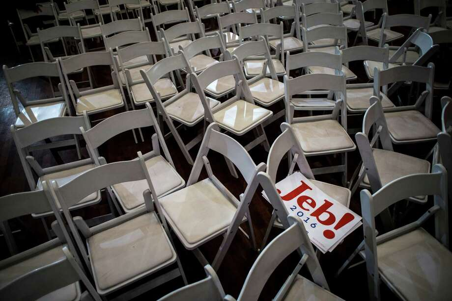 A sign for Jeb Bush, a Republican presidential hopeful who suspended his campaign following the South Carolina primary, among empty chairs after a town hall-style campaign event at the Laurel Creek Swim & Racquet Club in Rock Hill, S.C. If Bush was the turtle in the GOP presidential race, slow and steady was the wrong way to go. Photo: GABRIELLA DEMCZUK /New York Times / NYTNS