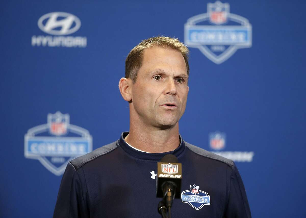San Francisco 49ers general manager Trent Baalke responds to a question during a news conference at the NFL football scouting combine Wednesday, Feb. 24, 2016, in Indianapolis. Baalke said Wednesday he expects quarterback Colin Kaepernick to be with the 49ers next season. (AP Photo/Darron Cummings)