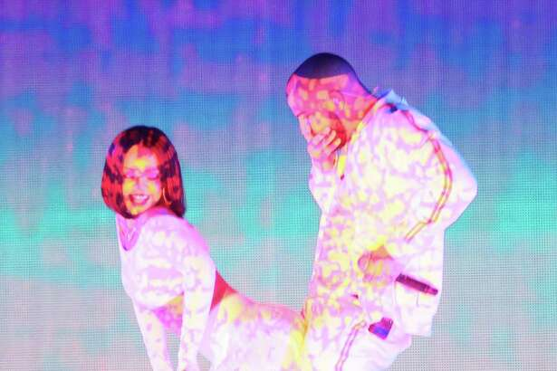 Drake and Rihanna seen at the Brit Awards 2016  on February 24, 2016 in London, England.