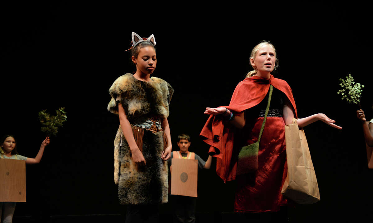 """Students perform an adaptation of """"Little Red Riding Hood"""" called the """"Little Ride Redberg Machine"""" during the Berkeley Rep School of Theatre's summer programs."""