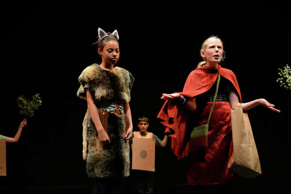 "Students perform an adaptation of ""Little Red Riding Hood"" called the ""Little Ride Redberg Machine"" during the Berkeley Rep School of Theatre's summer programs."