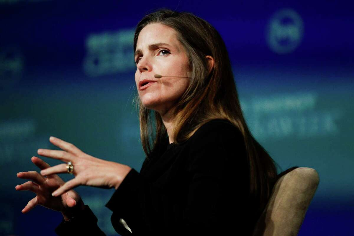 Cheniere President of Marketing Meg Gentle answers questions during a Global Gas Plenary during the third day of IHS CERAWeek at the Hilton Americas Wednesday, Feb. 24, 2016. ( Michael Ciaglo / Houston Chronicle )