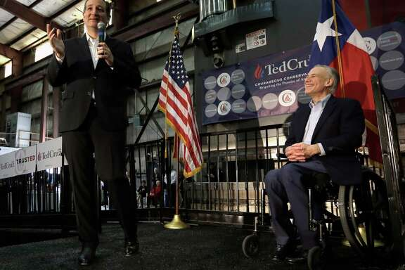 Republican presidential candidate Ted Cruz drew a laugh at a rally Wednesday from Gov. Greg Abbott, who gave Texas' junior senator his endorsement.