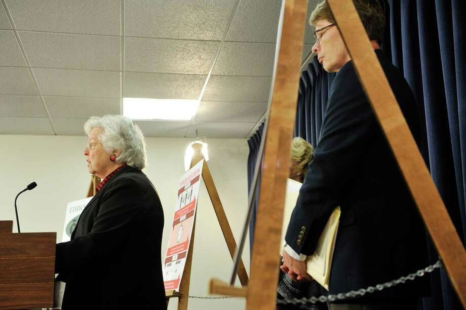Assemblywoman Sandy Galef, left, holds a press conference to discuss her bills dealing with ethics reform on Wednesday, February 24, 2016, in Albany, N.Y.  Blair Horner, right, director of NYPIRG, also took part in the press conference.  (Paul Buckowski / Times Union) Photo: PAUL BUCKOWSKI / 10035573A