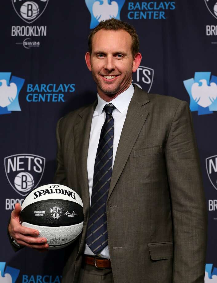 NEW YORK, NY - FEBRUARY 19: Sean Marks, General Manager of the Brooklyn Nets, poses with a ball after a press conference announcing title at Barclays Center on February 19, 2016 in the Brooklyn borough of New York City. NOTE TO USER: User expressly acknowledges and agrees that, by downloading and or using this photograph, User is consenting to the terms and conditions of the Getty Images License Agreement. (Photo by Elsa/Getty Images) Photo: Photo By Elsa/Getty Images