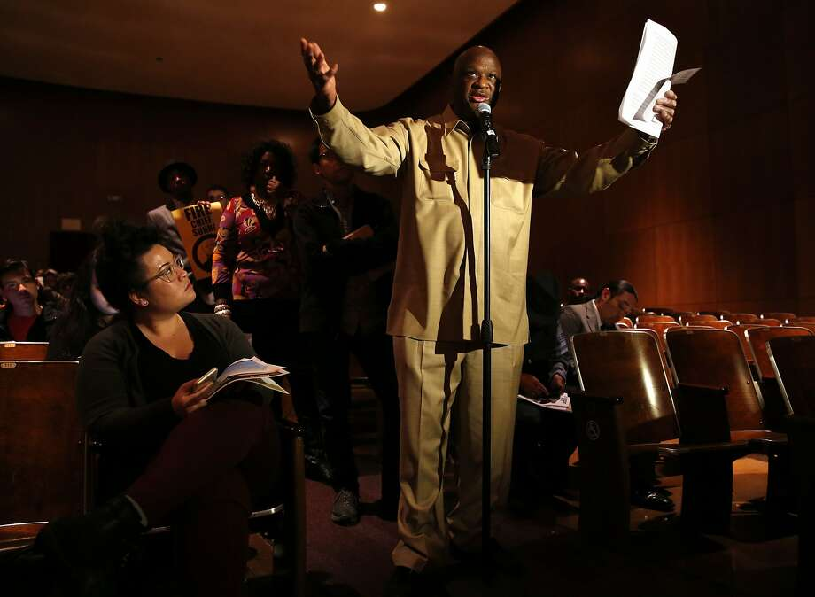 Frank Williams addresses the U.S. Department of Justice's Office of Community Oriented Policing Services (COPS) as they host a community listening session as it embarks on a review of the San Francisco Police Department. Photographed at Thurgood Marshall High School in San Francisco, Calif., on Wednesday, February 24, 2016. Photo: Scott Strazzante, The Chronicle