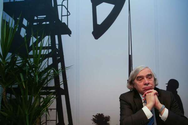 United States Secretary of Energy Ernest Moniz gives an interview during the third day of IHS CERAWeek at the Hilton Americas Wednesday, Feb. 24, 2016. ( Michael Ciaglo / Houston Chronicle )