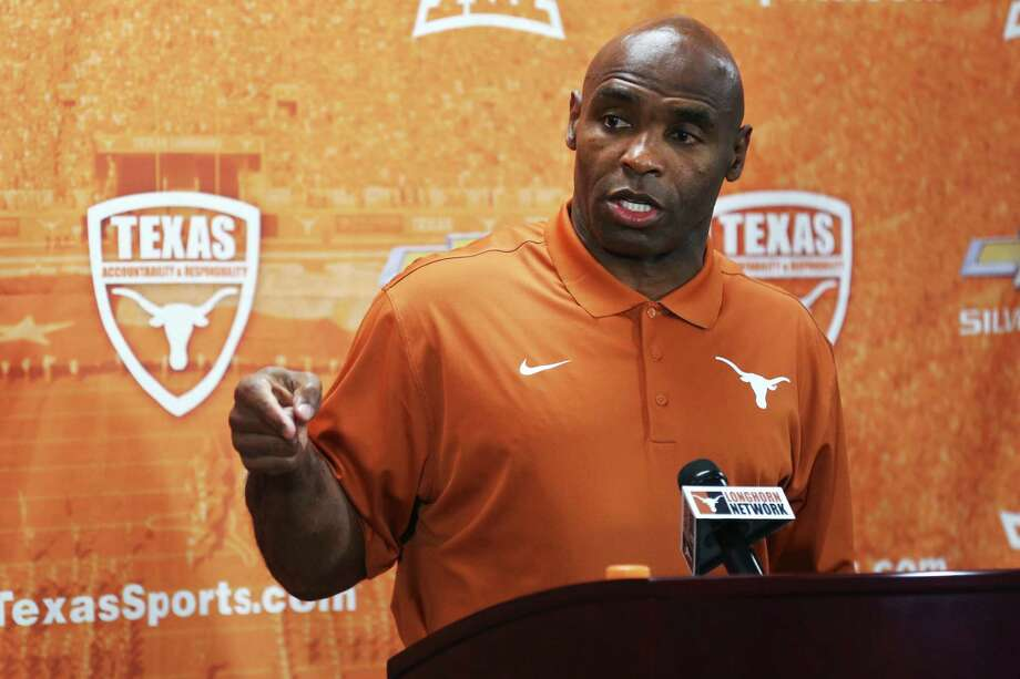 Texas football coach Charlie Strong speaks during a news conference at the NCAA college football team's media day Thursday, Aug. 6, 2015, in Austin, Texas. (Shelby Tauber/Austin American-Statesman via AP) Photo: Shelby Tauber, MBO / Austin American-Statesman