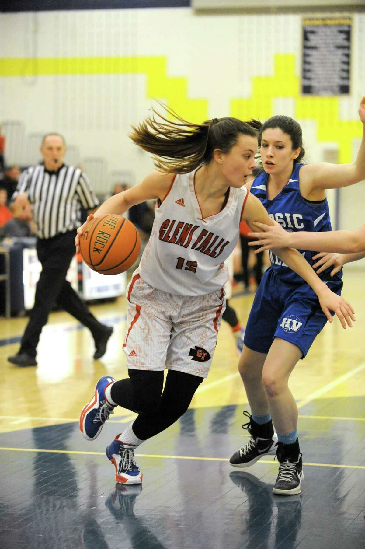 Glens Falls Sophie Tougas drives to the basket during their Class B girls' hoops semifinals game against Hoosic Valley on Wednesday Feb. 24, 2016 in Averill Park, N.Y. (Michael P. Farrell/Times Union)