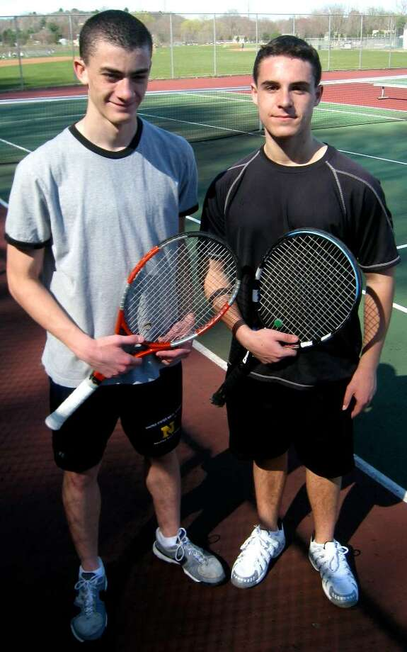 SPECTRUM/New Milford High School boys' tennis captains for 2010, Jack Burns, left, and Josh Jugler Photo: Norm Cummings / The News-Times