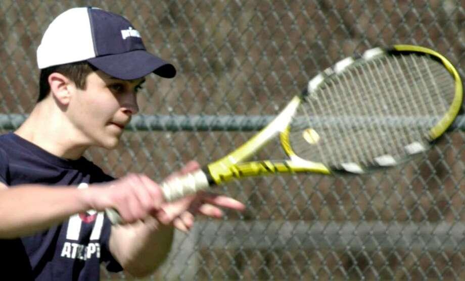 SPECTRUM/Shepaug Valley High School boys' tennis player Andrew Stern, April 2, 2010. Photo: Norm Cummings / The News-Times
