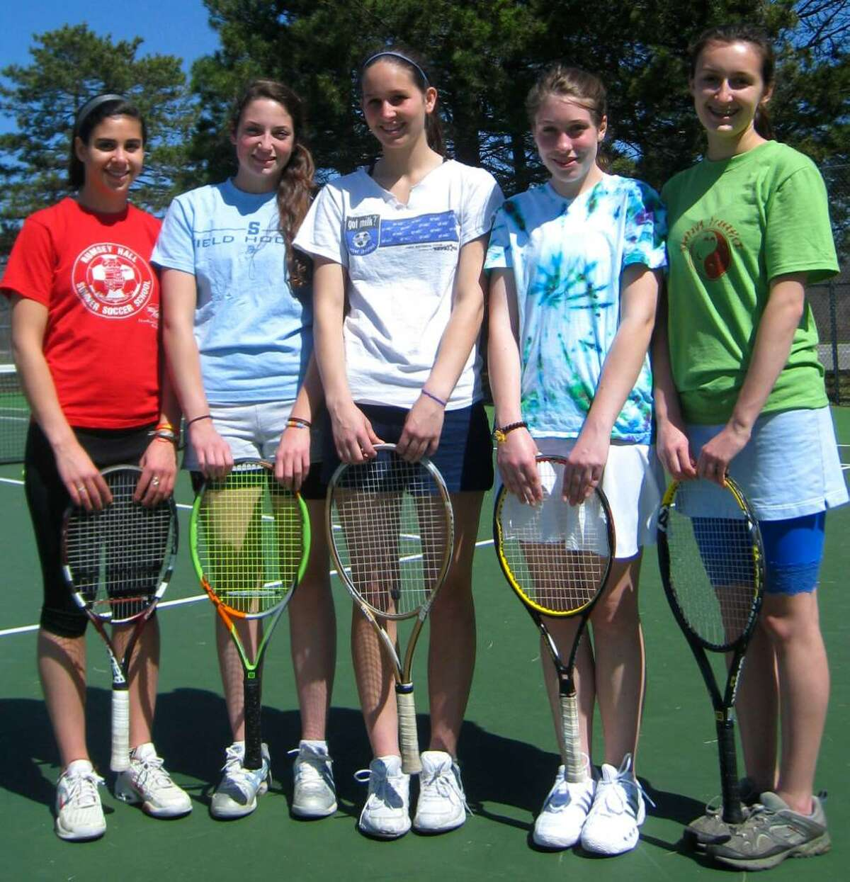 SPECTRUM/Shepaug Valley High School girls' tennis has five senior captains, from left to right, Samantha Metcalf, Hannah Loeb, Marina Scanlon, Catherine Wolk and Charlotte McConaghy. April 2, 2010.