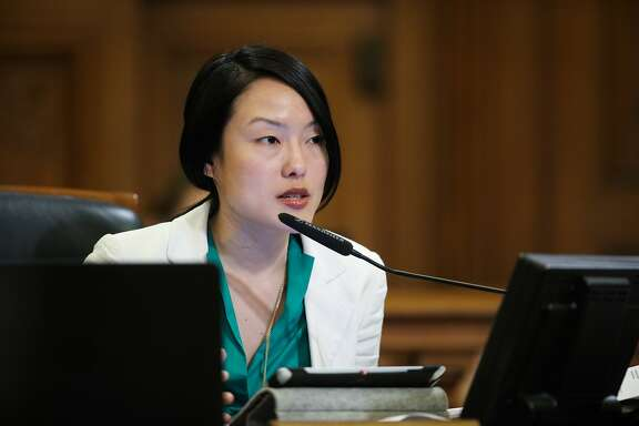 Supervisor Jane Kim gives her thoughts on spending money on city parks during a Board of Supervisors meeting at City Hall, in San Francisco, California on Tuesday, February 23, 2016.