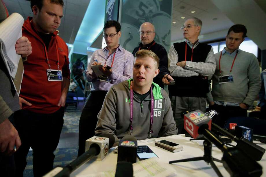 Indiana quarterback Nate Sudfeld responds to a question during a news conference at the NFL football scouting combine Thursday, Feb. 25, 2016, in Indianapolis. (AP Photo/Darron Cummings) Photo: Darron Cummings, Associated Press / AP