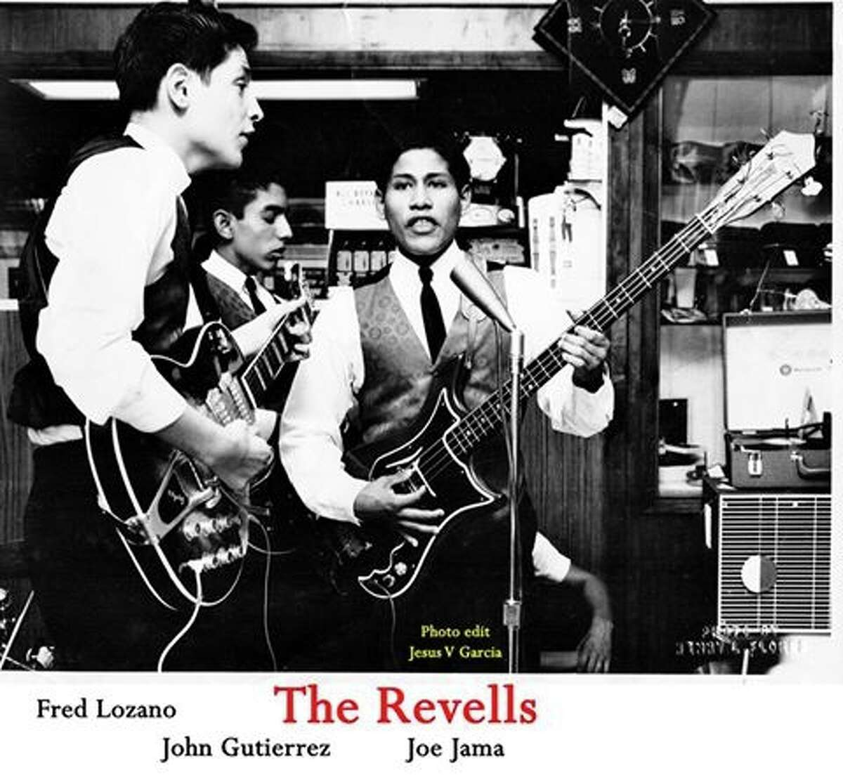 """The Revells featuring Fred Lozano (left) on lead vocals and guitar and Joe Jama (center) on bass specialized in rocked-up versions of songs by the Beatles, including """"She Loves You"""" in Spanish. The band had a local radio hit on KONO with """"I Want You to Know""""/ """"You Turn Your Back on Me."""" Lozano sang lead on the latter. It was on the Prism Records label."""