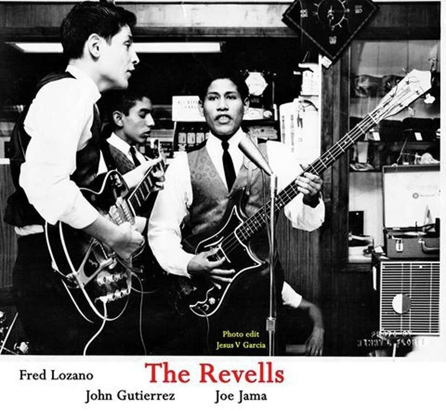 """The Revells featuring Fred Lozano (left) on lead vocals and guitar and Joe Jama (center) on bass specialized in rocked-up versions of songs by the Beatles, including """"She Loves You"""" in Spanish. The band had a local radio hit on KONO with """"I Want You to Know""""/ """"You Turn Your Back on Me."""" Lozano sang lead on the latter. It was on the Prism Records label. Photo: Jesus Garcia Collection"""