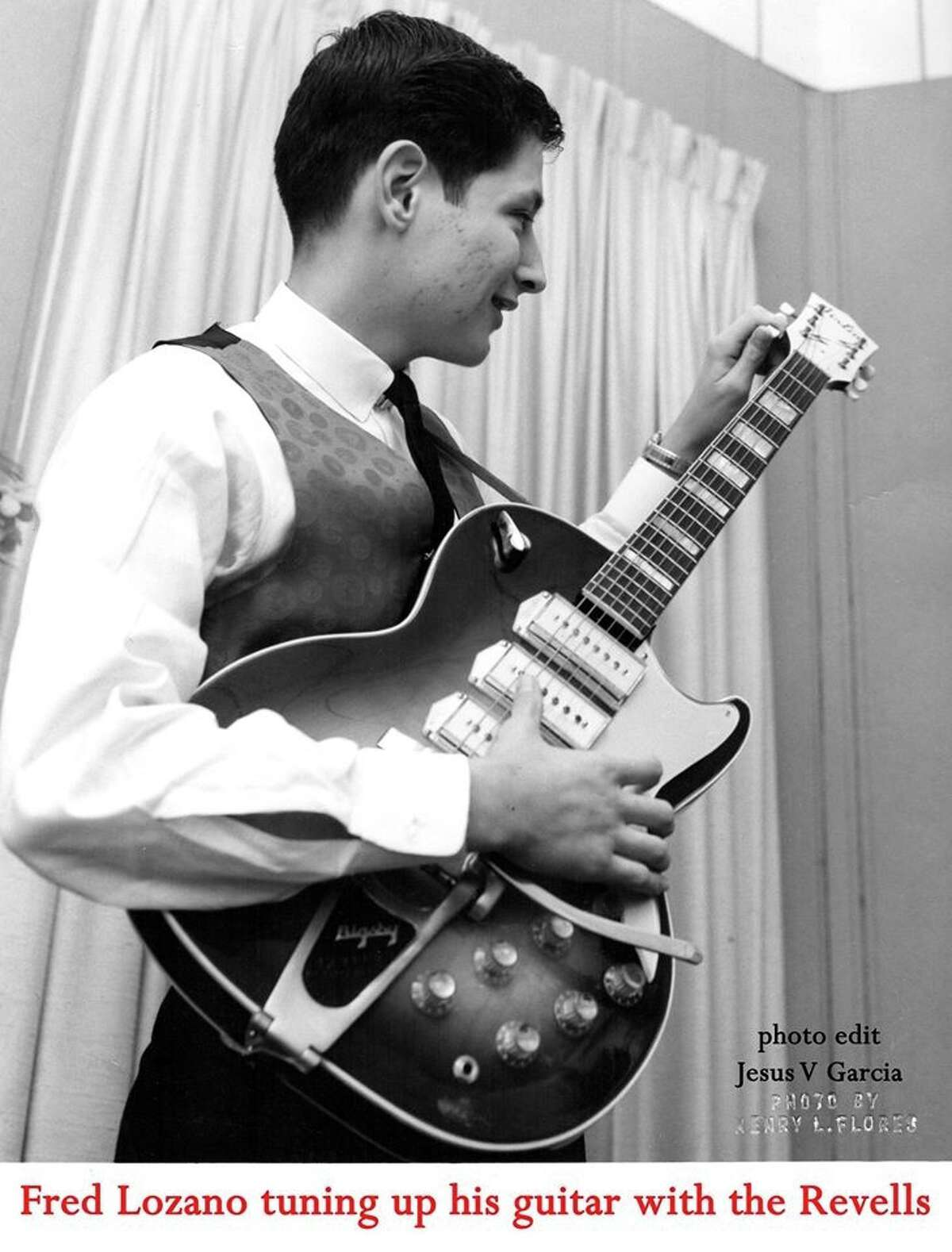 Fred Lozano played in local teen combos the Radiants, the Revells and the Eptones. He's shown tuning up his electric guitar in this photo from the mid-1960s.