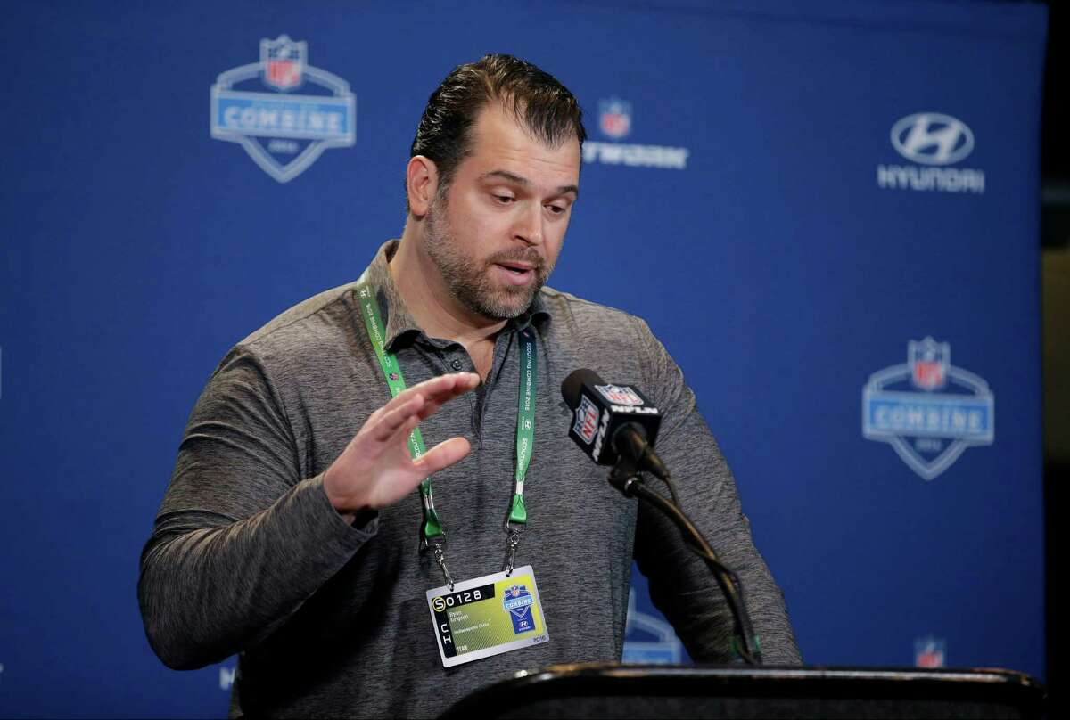 Indianapolis Colts general manager Ryan Grigson responds to a question during a news conference at the NFL football scouting combine Thursday, Feb. 25, 2016, in Indianapolis. (AP Photo/Darron Cummings)