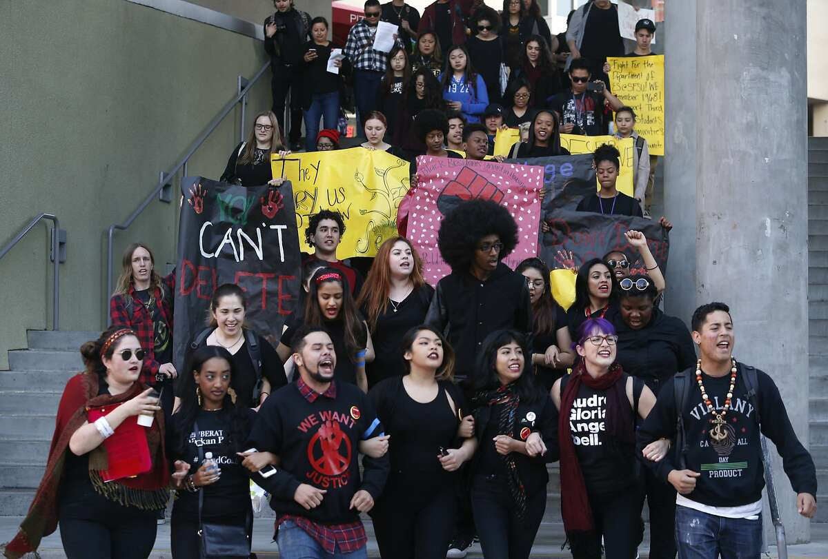 Students in the College of Ethnic Studies march through the San Francisco State campus before a meeting with university president Les Wong in San Francisco, Calif. on Thursday, Feb. 25, 2016.