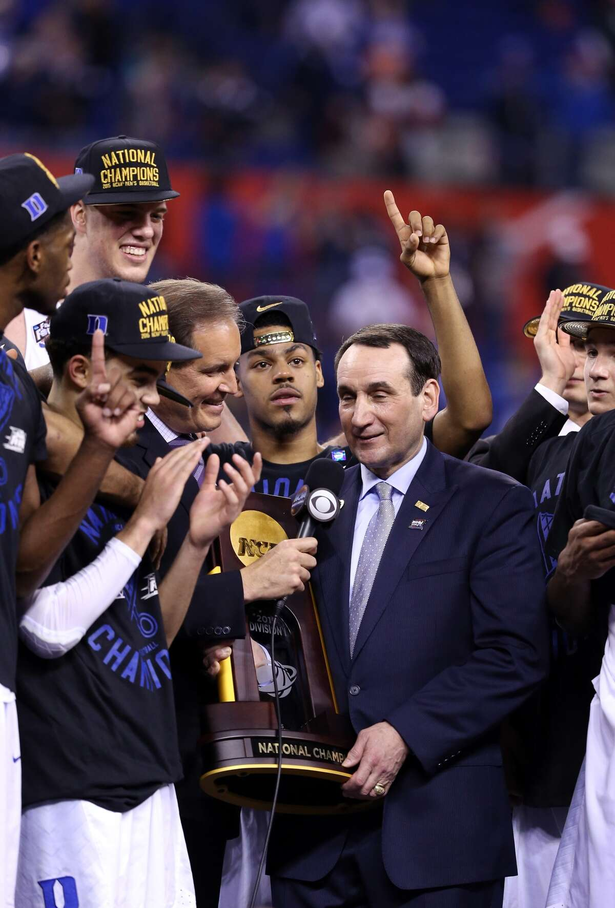 Jim Nantz interviews Duke coach Mike Krzyzewski after the Blue Devils' 68-63 victory over Wisconsin in the 2015 national championship game at Lucas Oil Field in Indianapolis. It was Krzyzewski's fifth NCAA championship. (Getty Images file photo)