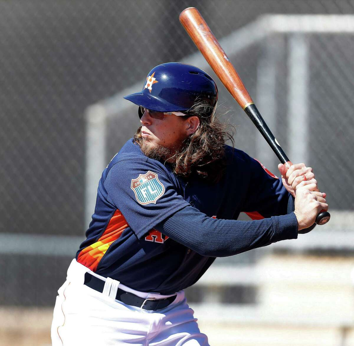 Houston Astros outfielder Colby Rasmus during batting practice at the Astros spring training in Kissimmee, Florida, Thursday, Feb. 25, 2016.