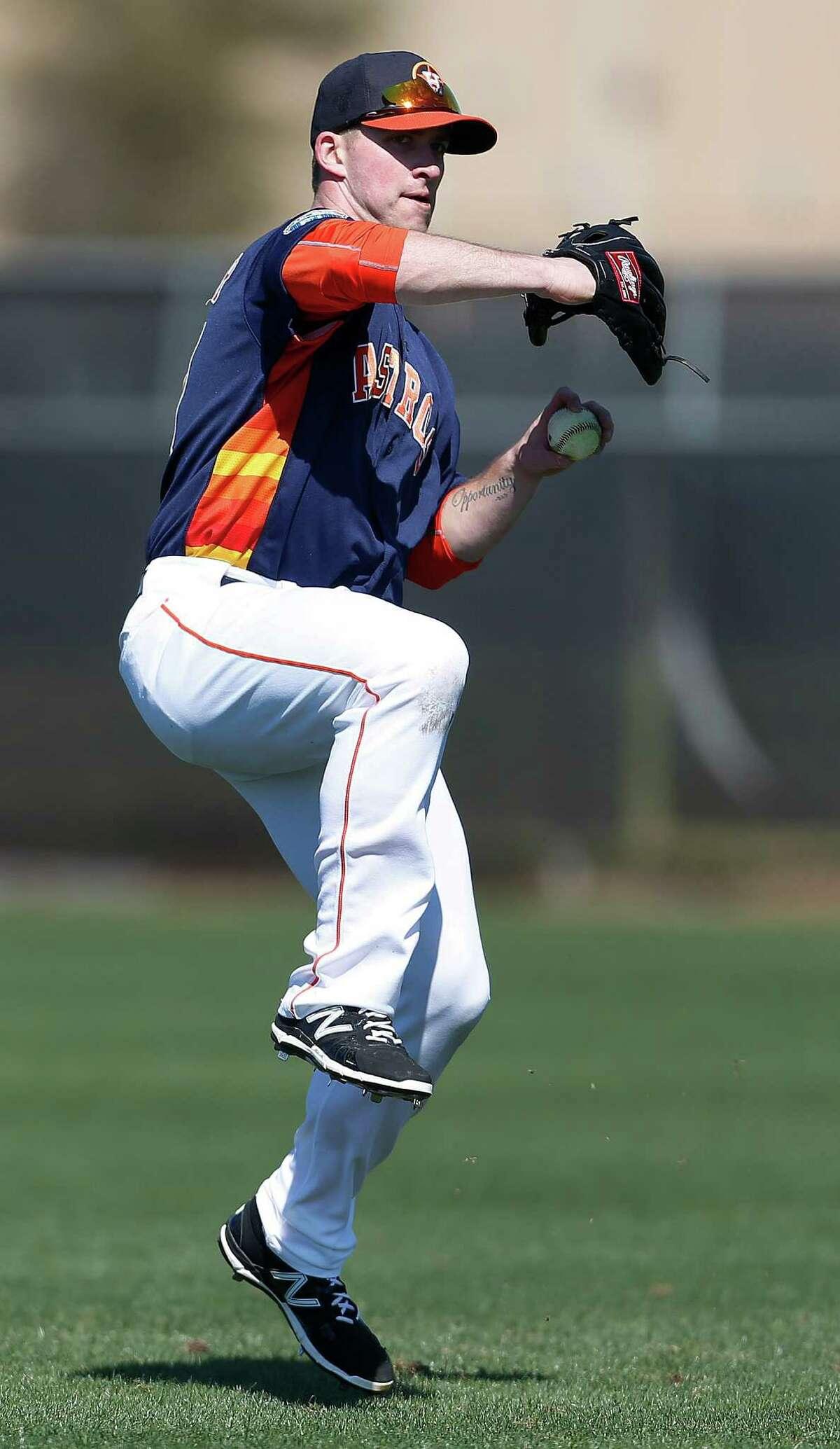 Houston Astros outfielder Jon Kemmer during the Astros spring training in Kissimmee, Florida, Thursday, Feb. 25, 2016.
