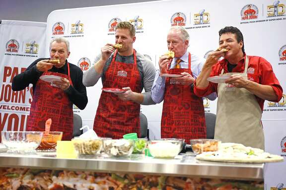 IMAGE DISTRIBUTED FOR PAPA JOHN'S - Papa John's founder, chairman and CEO John Schnatter, right, along with NFL legends Joe Montana, left, Archie Manning and J.J. Watt hosts a pizza making demo on Super Bowl 50 Radio Row announcing the new Papa John's Quality Guarantee, Thursday, Feb. 4, 2016, in San Francisco. Papa John's guarantees if you don't love your pizza, tell them why, and you will get another one free. (Jack Dempsey/ AP Images for Papa John's)