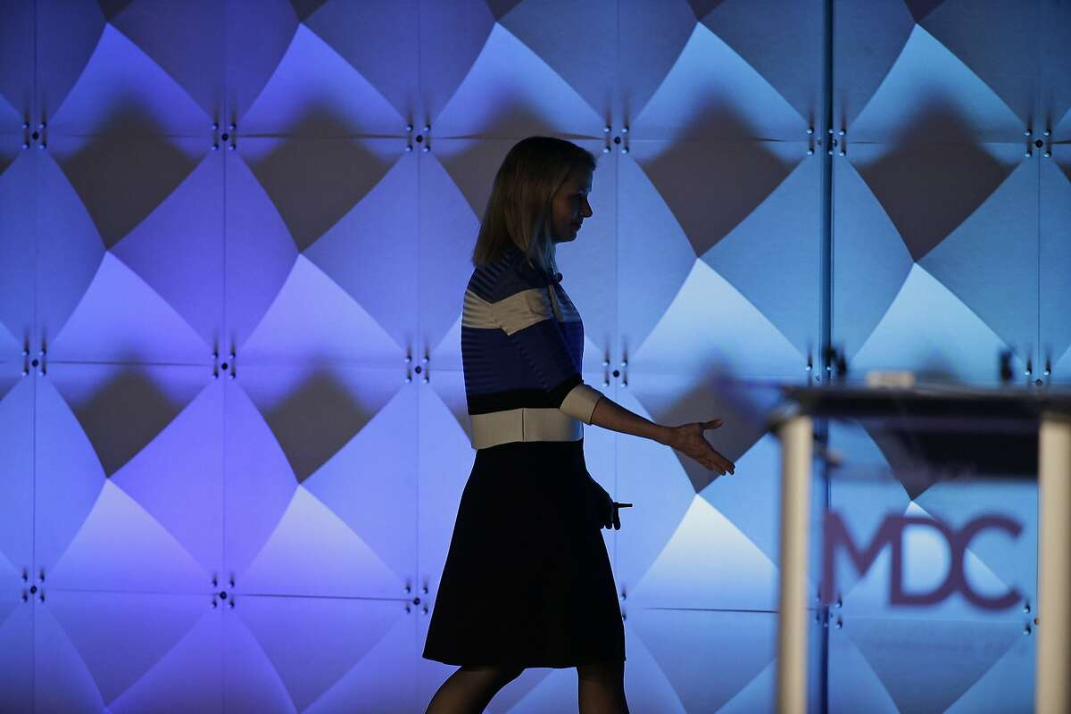 Yahoo CEO Marissa Mayer walks off the stage after delivering the keynote address Thursday, Feb. 18, 2016, at the Yahoo Mobile Developer Conference in San Francisco. (AP Photo/Eric Risberg)