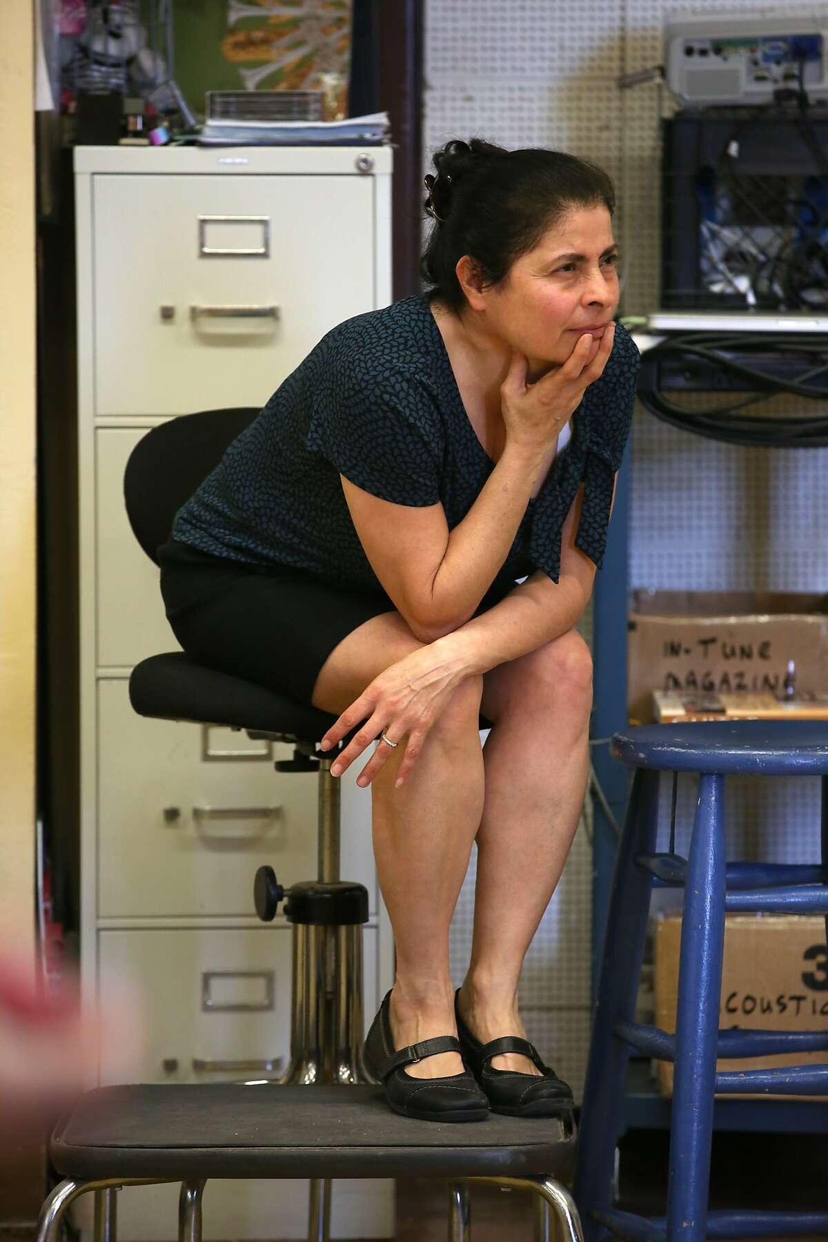 Drama teacher Myrna Maroun watches students do improvisation in the Little Theater at Galileo High School in San Francisco, California, on Thursday, February 25, 2016.