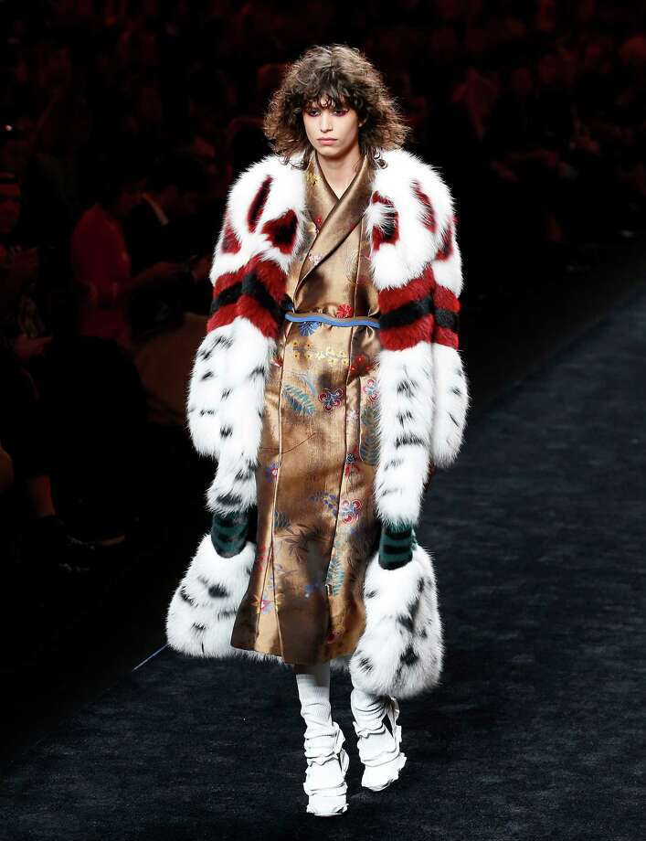 A model wears a creation part of Fendi women's Fall-Winter 2016-2017 collection unveiled in Milan, Italy, Thursday, Feb. 25, 2016. (AP Photo/Antonio Calanni) ORG XMIT: XAC106 Photo: Antonio Calanni / AP