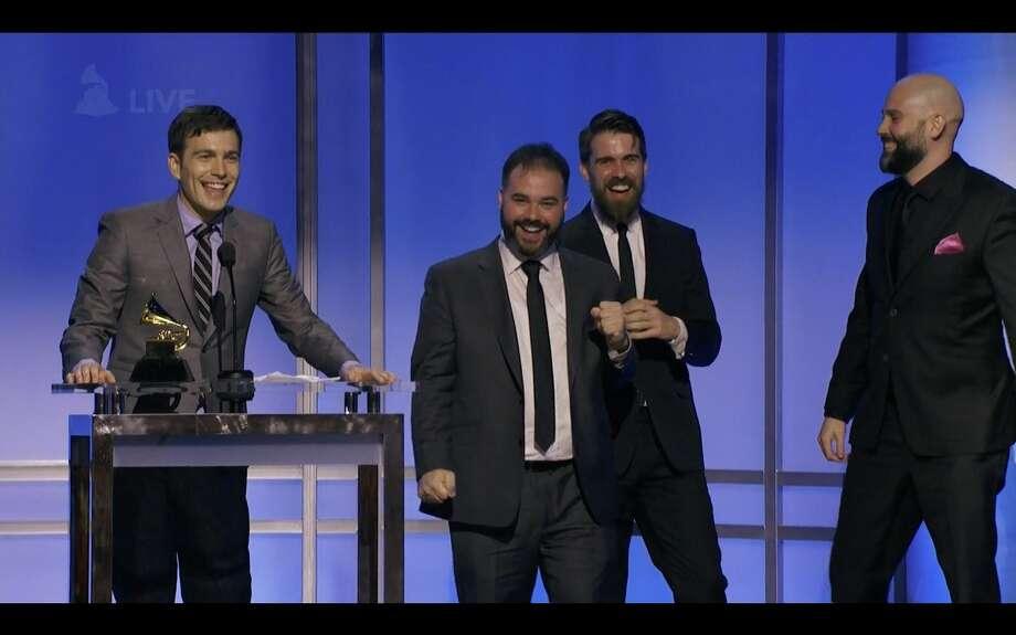 Accepting the award. L to R: Tim Kubart, Dominic Fallacaro, Matt Puckett, and Will Hensley.