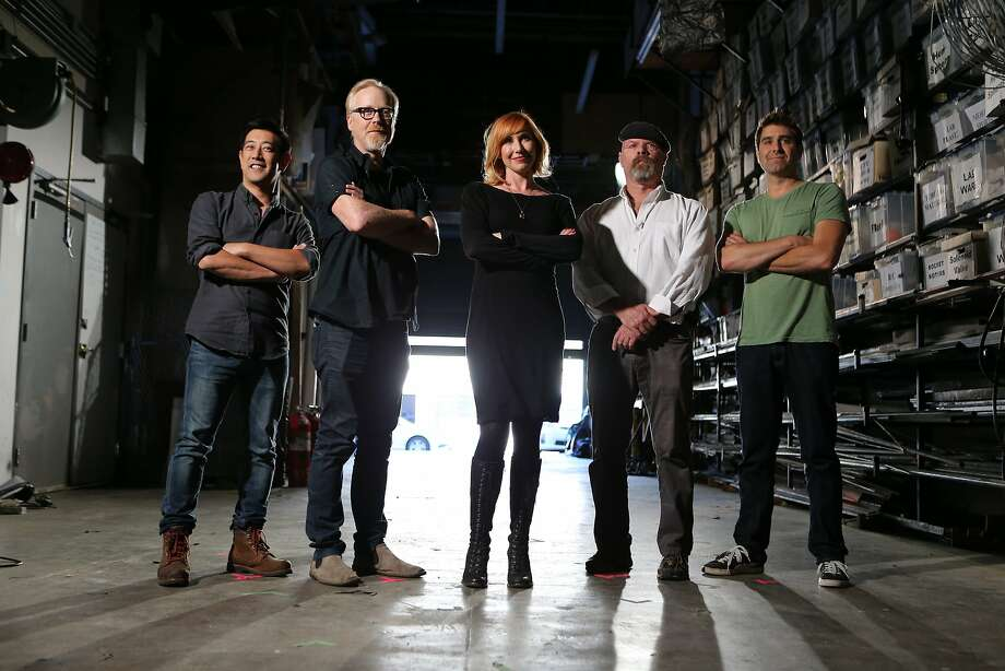 "Former hosts Grant Imahara (left), Kari Byron and Tori Belleci film a reunion special with current hosts Adam Savage and Jamie Hyneman for the final season of ""MythBusters."" Photo: Don Feria, AP Images For Discovery"