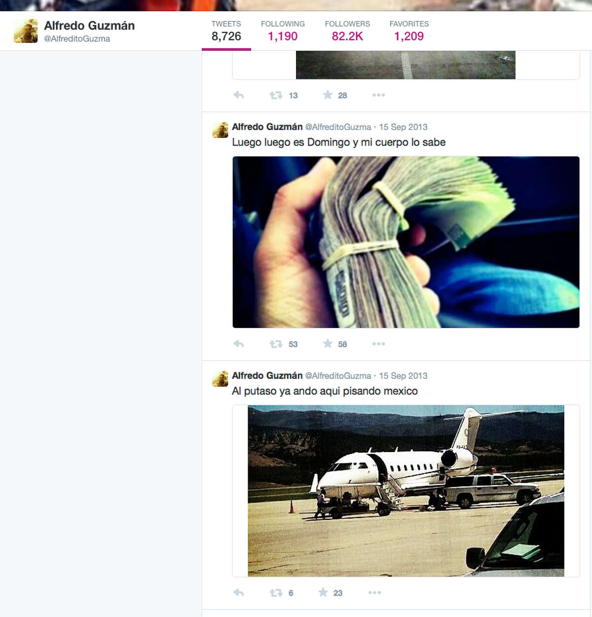 A screen grab taken from the Twitter page of Alfredo Guzman shows images which give viewers an inside look at the life of a cartel member. It's believed that the siblings help run