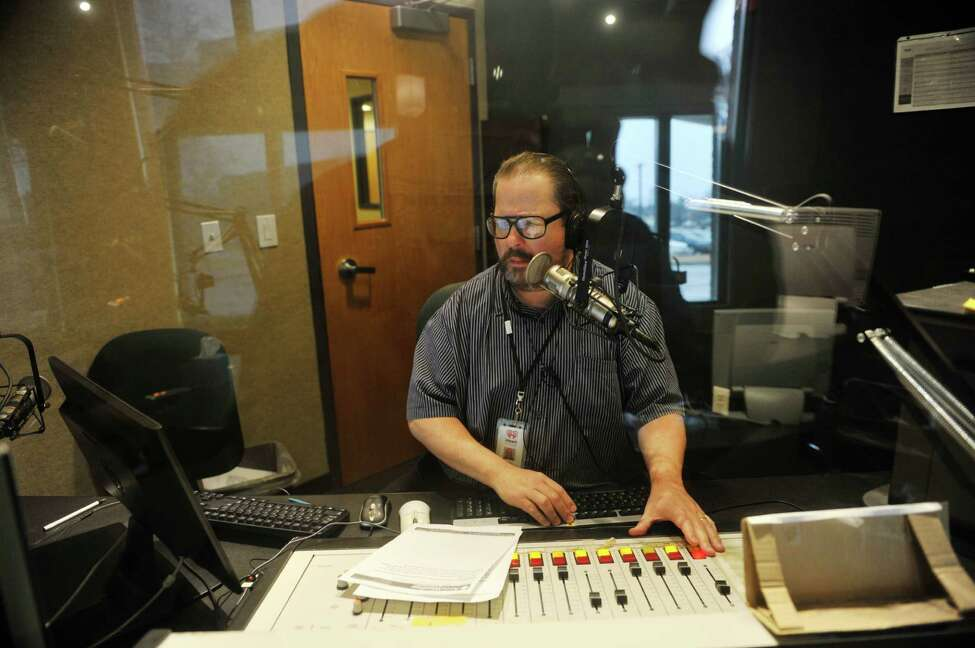 Mike Patrick, anchor/reporter, delivers the the new on air at the WGY studios on Thursday, Feb. 25, 2016, in Latham, N.Y. (Paul Buckowski / Times Union)