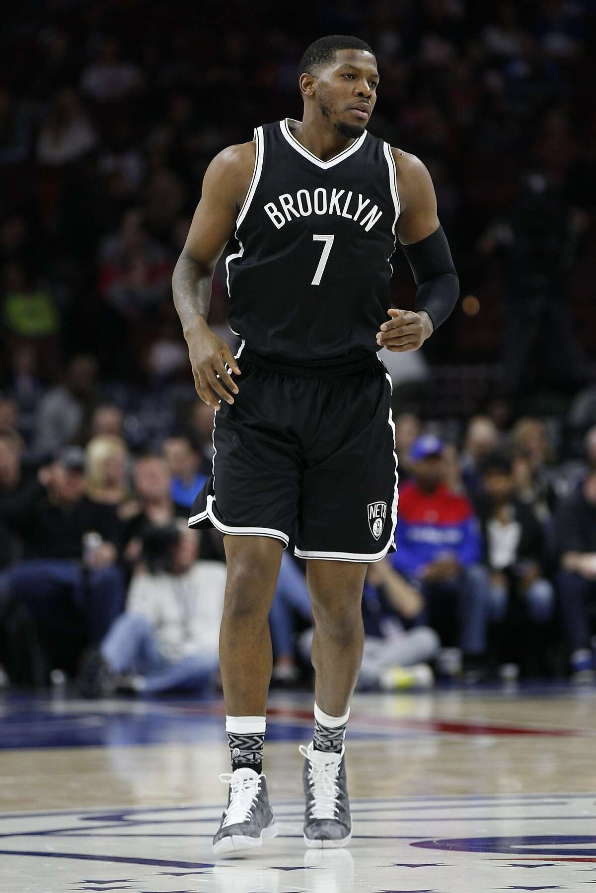 Brooklyn Nets' Joe Johnson (7) in action during the first half of an NBA basketball game against the Philadelphia 76ers, Saturday, Feb. 6, 2016, in Philadelphia. The 76ers won 103-98. (AP Photo/Chris Szagola)