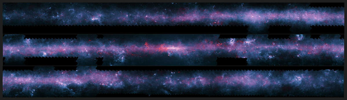A new image of the Milky Way mapped the Galactic Plane as visible from the Southern Hemisphere. The image has been cut into three pieces in order to be viewable.