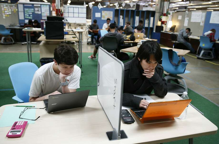 Alan Gjerstad (left) and Jared Lin are students at Design Tech High in Burlingame. Photo: Paul Chinn, The Chronicle