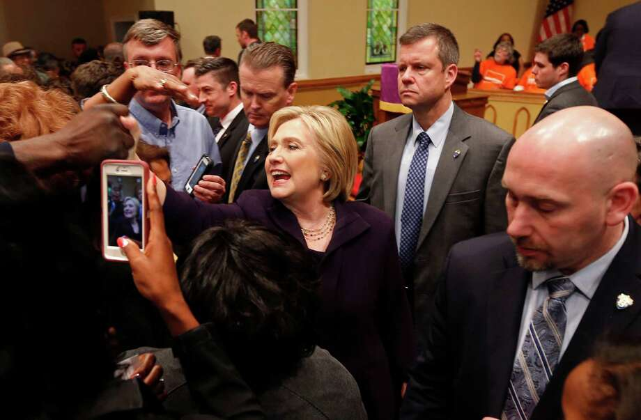 Democratic presidential candidate Hillary Clinton greets supporters after a campaign event at the Cumberland United Methodist Church in Florence, S.C., Thursday, Feb. 25, 2016. (AP Photo/Gerald Herbert) Photo: Gerald Herbert, STF / AP