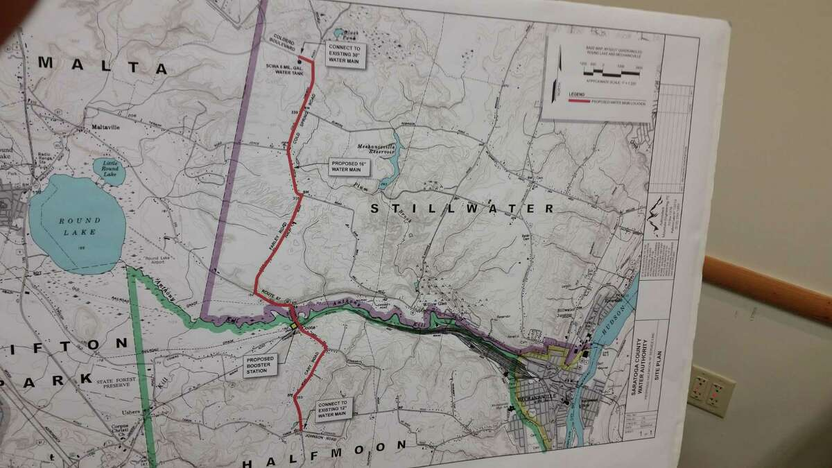 The red line on the map represents where the Saratoga County Water Authority would extend water mains to serve the towns of Halfmoon and Waterford. (Dennis Yusko)