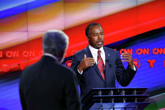 Ben Carson speaks during a Republican presidential primary debate in Houston, Feb. 25, 2016. The debate hosted by CNN is the candidates' last before 11 states vote on Super Tuesday.