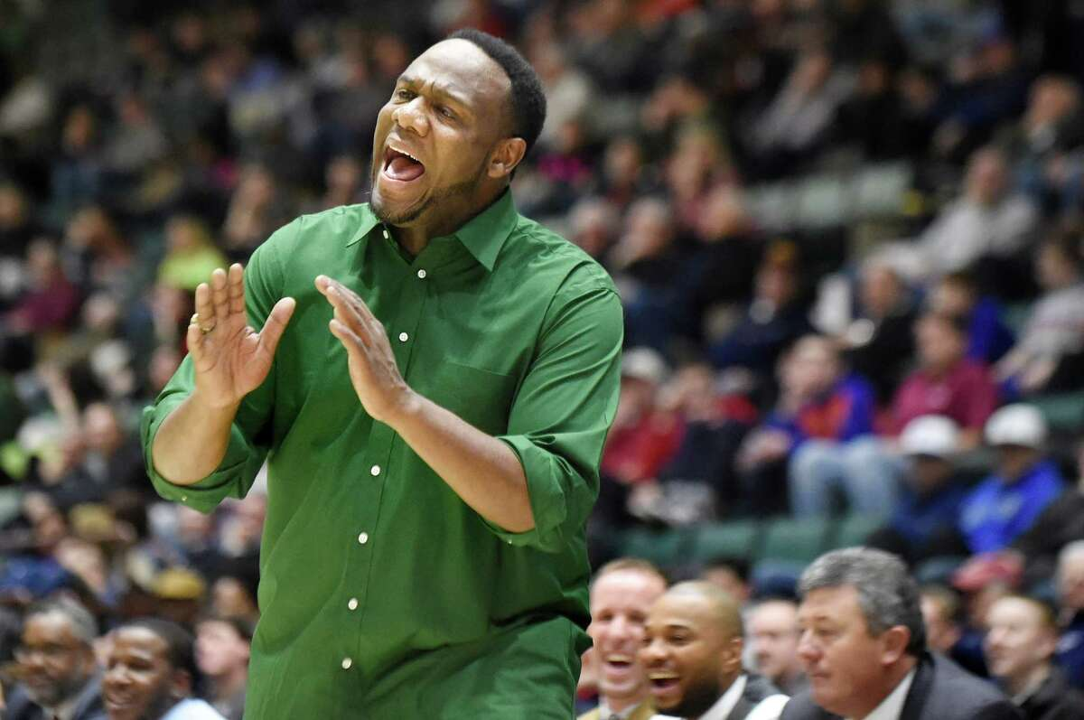Green Tech coach Jamil Hood Sr., tells his players to relax and slow down the play in their Class AA basketball semifinal against Guilderland on Thursday, Feb. 25, 2016, at Glens Falls Civic Center in Glens Falls, N.Y. (Cindy Schultz / Times Union)