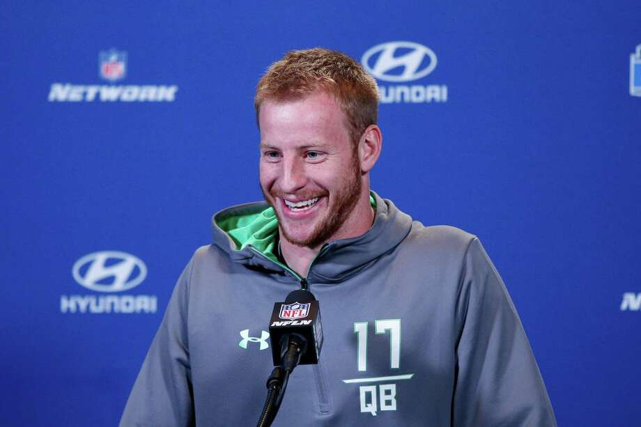 INDIANAPOLIS, IN - FEBRUARY 25: Quarterback Carson Wentz #17 of North Dakota State speaks to the media during the 2016 NFL Scouting Combine at Lucas Oil Stadium on February 25, 2016 in Indianapolis, Indiana. (Photo by Joe Robbins/Getty Images) Photo: Joe Robbins, Stringer / 2016 Getty Images