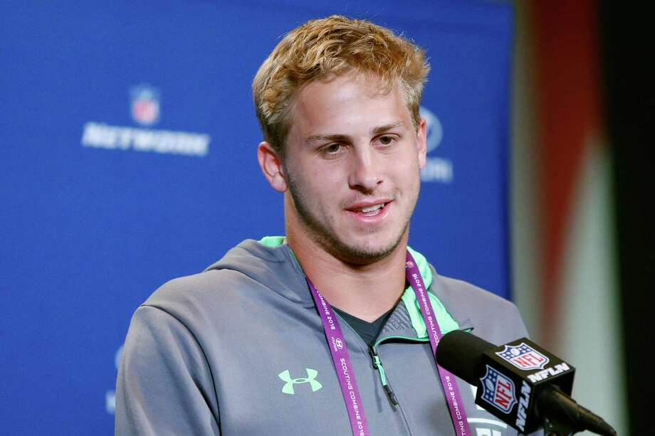 INDIANAPOLIS, IN - FEBRUARY 25: Quarterback Jared Goff #8 of California speaks to the media during the 2016 NFL Scouting Combine at Lucas Oil Stadium on February 25, 2016 in Indianapolis, Indiana. (Photo by Joe Robbins/Getty Images) Photo: Joe Robbins, Stringer / 2016 Getty Images