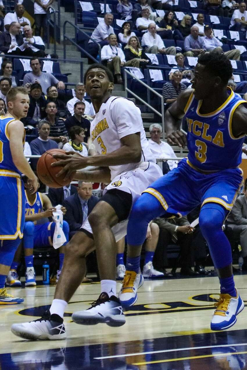 California Golden Bears guard Tyrone Wallace gets ready to shoot against UCLA Bruins player Aaron Holiday (3) during the first half of the game at Haas Pavilion, in Berkeley, California on Thursday, February 25, 2016.