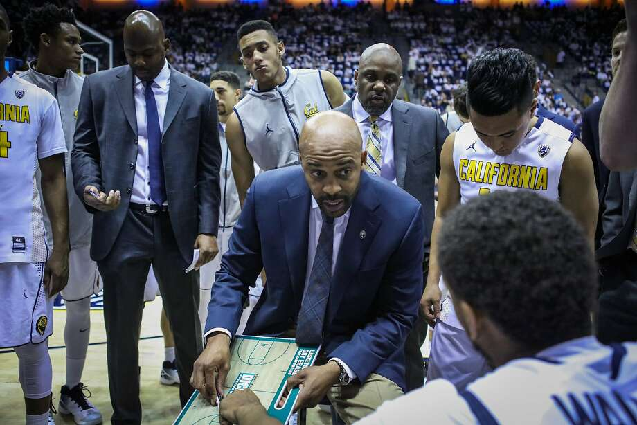 Head coach Cuonzo Martin (center) gives his final remarks before a game against the UCLA Bruins, at Haas Pavilion, in Berkeley, California on Thursday, February 25, 2016. Photo: Gabrielle Lurie
